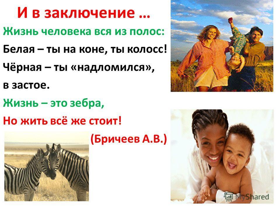 И в заключение … Жизнь человека вся из полос: Белая – ты на коне, ты колосс! Чёрная – ты «надломился», в застое. Жизнь – это зебра, Но жить всё же стоит! (Бричеев А.В.)