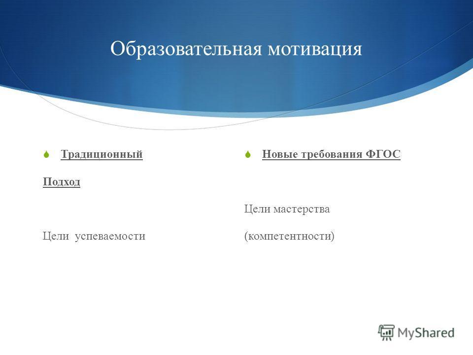 Образовательная мотивация Традиционный Подход Цели успеваемости Новые требования ФГОС Цели мастерства ( компетентности )