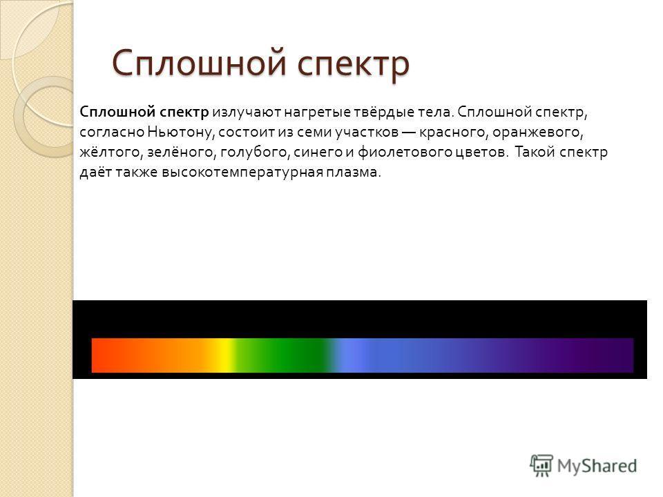 Сплошной спектр излучают нагретые твёрдые тела. Сплошной спектр, согласно Ньютону, состоит из семи участков красного, оранжевого, жёлтого, зелёного, голубого, синего и фиолетового цветов. Такой спектр даёт также высокотемпературная плазма. Сплошной с