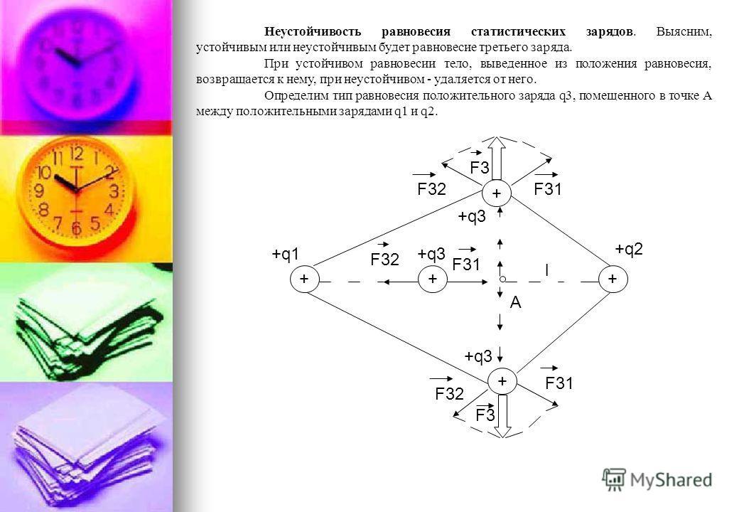 Учитывая закон Кулона, перепишем это условие: k q3q1 = k q3q2. x2 (l-x)2 Существенно, что q3 сокращается. Это означает, что равновесие заряда q3 не зависит ни от его величины, ни от его знака. Этот заряд может быть любым. При увеличении q3 в равной с