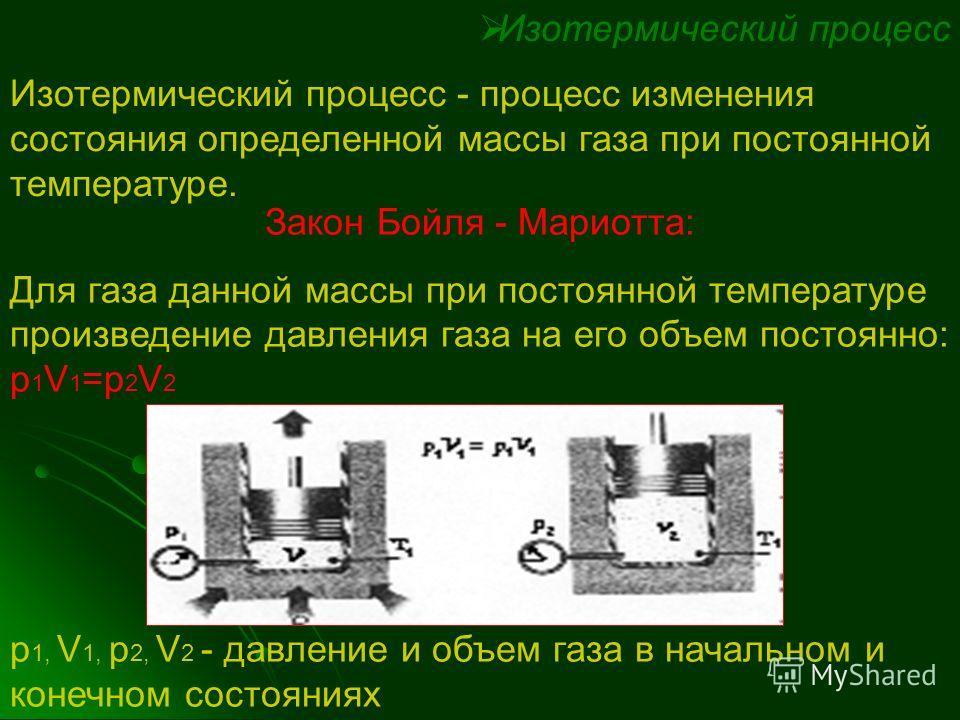 Изопроцессы Изопроцесс - это процесс, при котором один из макроскопических параметров состояния данной массы газа остается постоянным