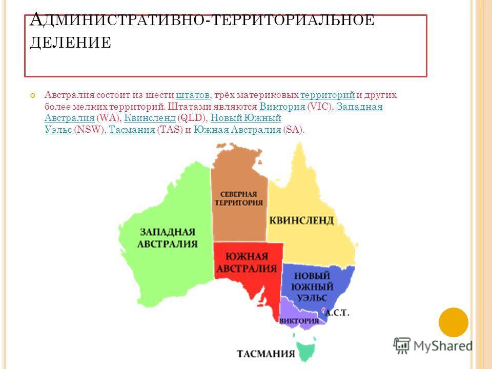 А ДМИНИСТРАТИВНО - ТЕРРИТОРИАЛЬНОЕ ДЕЛЕНИЕ Австралия состоит из шести штатов, трёх материковых территорий и других более мелких территорий. Штатами являются Виктория (VIC), Западная Австралия (WA), Квинсленд (QLD), Новый Южный Уэльс (NSW), Тасмания (