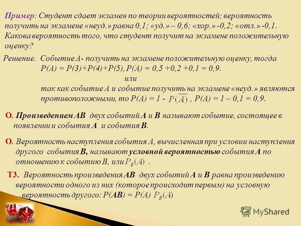 Пример: Студент сдает экзамен по теории вероятностей; вероятность получить на экзамене «неуд.» равна 0,1; «уд.» – 0,6; «хор.» -0,2; «отл.» -0,1. Какова вероятность того, что студент получит на экзамене положительную оценку? Решение. Событие А- получи