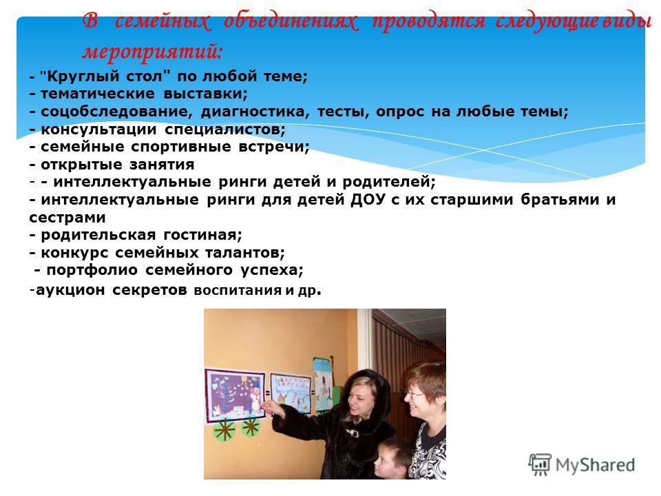 В семейных объединениях проводятся следующие виды мероприятий: -