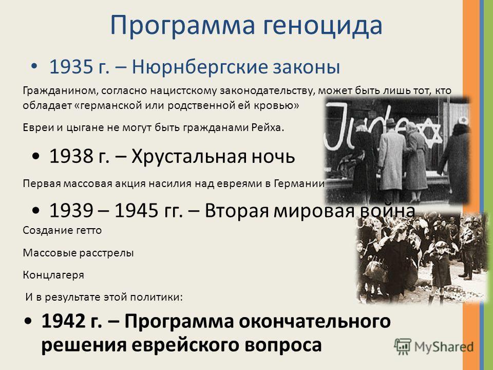 Программа геноцида 1935 г. – Нюрнбергские законы Гражданином, согласно нацистскому законодательству, может быть лишь тот, кто обладает «германской или родственной ей кровью» Евреи и цыгане не могут быть гражданами Рейха. 1938 г. – Хрустальная ночь Пе