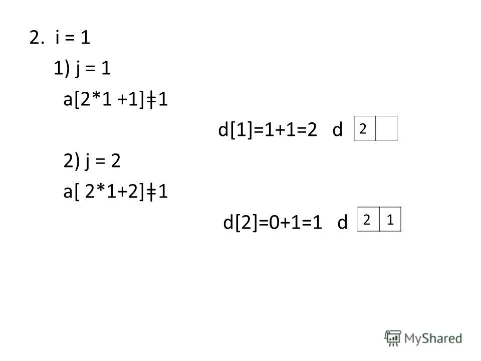 2. i = 1 1) j = 1 a[2*1 +1]ǂ1 d[1]=1+1=2 d 2) j = 2 a[ 2*1+2]ǂ1 d[2]=0+1=1 d 2 21