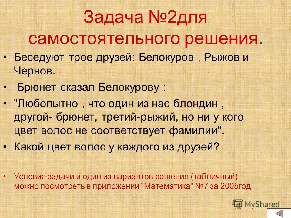Задача 2для самостоятельного решения. Беседуют трое друзей: Белокуров, Рыжов и Чернов. Брюнет сказал Белокурову :