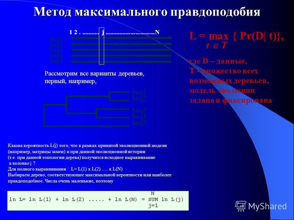 Метод максимального правдоподобия Рассмотрим все варианты деревьев, первый, например, Seq1 Seq2 Seq3 Seq4 Seq5 1 2............ j...............................N Seq1 Seq2 Seq3 Seq4 Seq5 Какова вероятность L(j) того, что в рамках принятой эволюционной