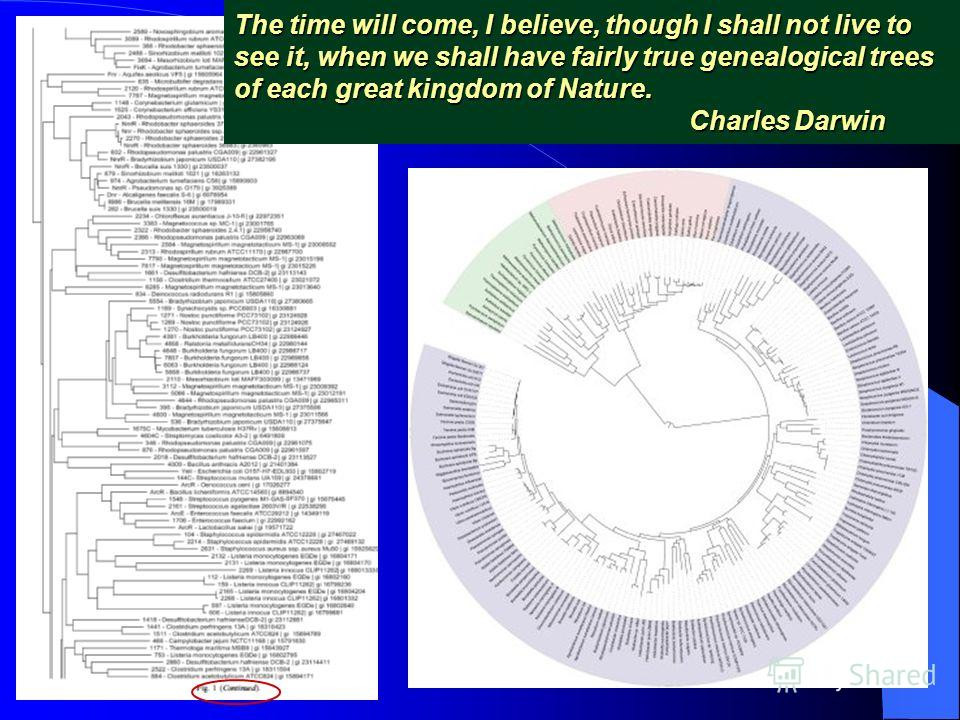 The time will come, I believe, though I shall not live to see it, when we shall have fairly true genealogical trees of each great kingdom of Nature. Charles Darwin