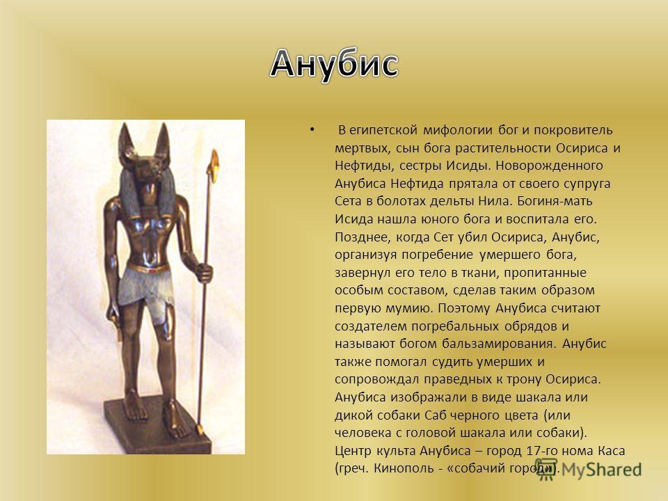 В египетской мифологии бог и покровитель мертвых, сын бога растительности Осириса и Нефтиды, сестры Исиды. Новорожденного Анубиса Нефтида прятала от своего супруга Сета в болотах дельты Нила. Богиня-мать Исида нашла юного бога и воспитала его. Поздне