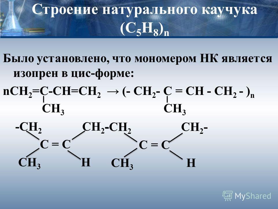 Строение натурального каучука (С 5 Н 8 ) n Было установлено, что мономером НК является изопрен в цис-форме: nСН 2 =С-СН=СН 2 (- CH 2 - C = CH - CH 2 - ) n СН 3 СН 3 -СН 2 СН 2 - С = С СН 3 Н -СН 2 СН 2 - С = С СН 3 Н