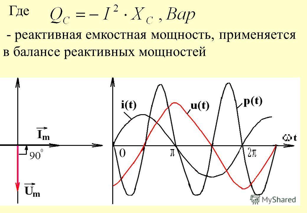 В ёмкости напряжение отстаёт от тока на Мгновенная активная мощность равна: