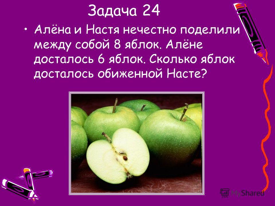 Задача 24 Алёна и Настя нечестно поделили между собой 8 яблок. Алёне досталось 6 яблок. Сколько яблок досталось обиженной Насте?