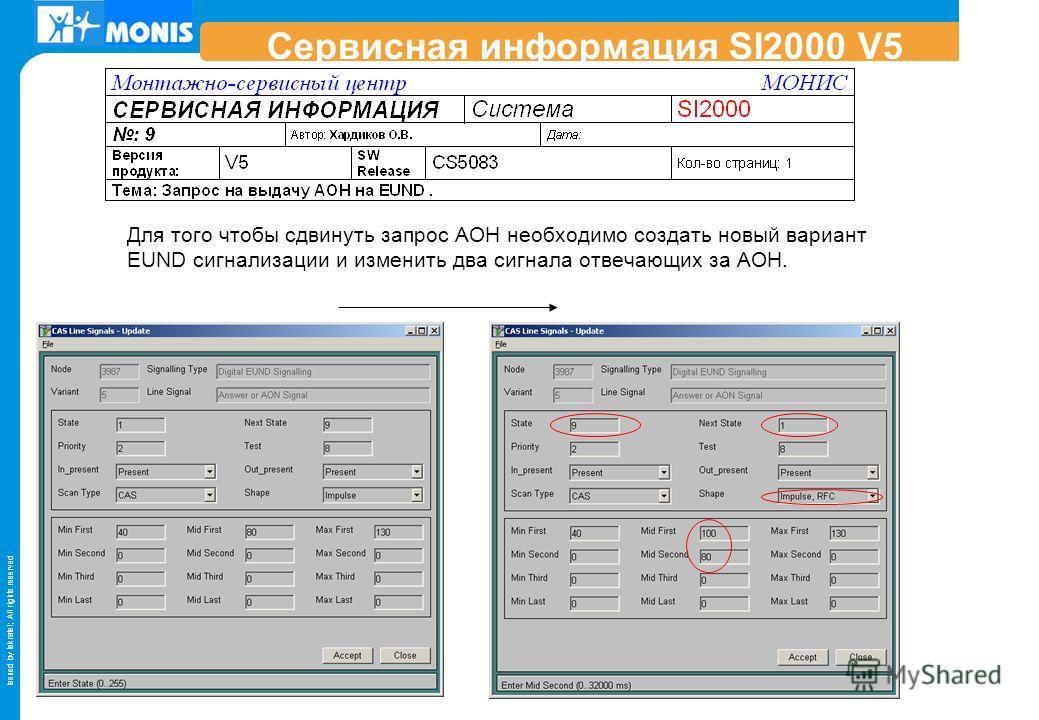 Issued by Iskratel; All rights reserved Сервисная информация SI2000 V5 Для того чтобы сдвинуть запрос АОН необходимо создать новый вариант EUND сигнализации и изменить два сигнала отвечающих за АОН.
