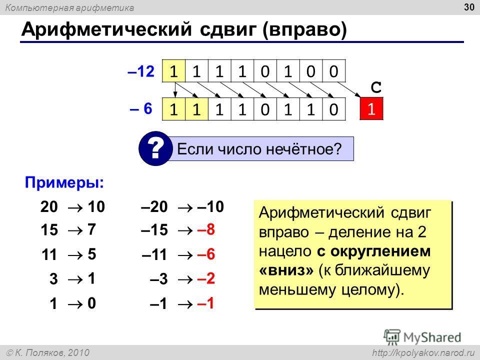 Компьютерная арифметика К. Поляков, 2010 http://kpolyakov.narod.ru Арифметический сдвиг (вправо) 30 –12 Если число нечётное? ? 11110100 11110110 1 С – 6 Примеры: 20 1515 1 3 1 10 7 5 1 0 –20 –15 –11 –3–3 –1 –10 –8 –6 –2 –1 Арифметический сдвиг вправо