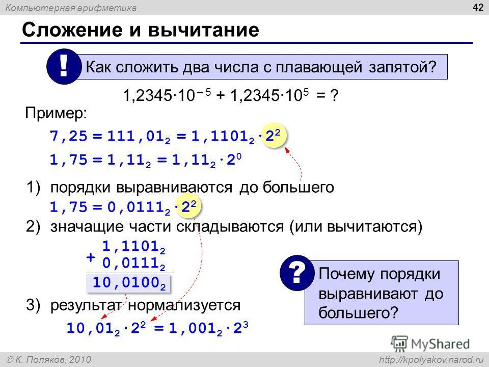 Компьютерная арифметика К. Поляков, 2010 http://kpolyakov.narod.ru Сложение и вычитание 42 1)порядки выравниваются до большего 2)значащие части складываются (или вычитаются) 3)результат нормализуется Как сложить два числа с плавающей запятой? ! 1,234