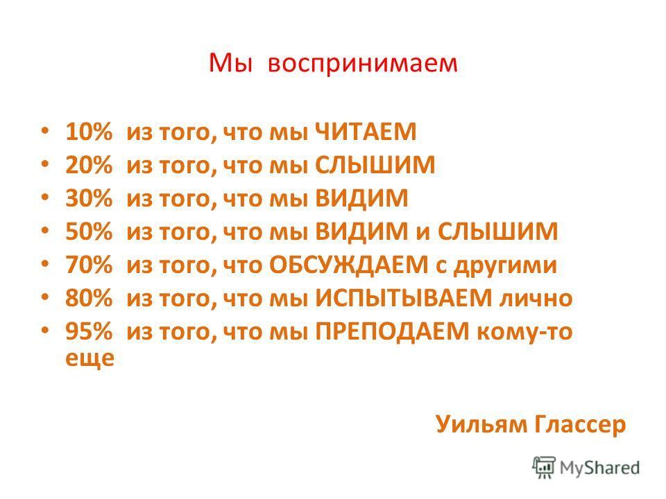Мы воспринимаем 10% из того, что мы ЧИТАЕМ 20% из того, что мы СЛЫШИМ 30% из того, что мы ВИДИМ 50% из того, что мы ВИДИМ и СЛЫШИМ 70% из того, что ОБСУЖДАЕМ с другими 80% из того, что мы ИСПЫТЫВАЕМ лично 95% из того, что мы ПРЕПОДАЕМ кому-то еще Уил