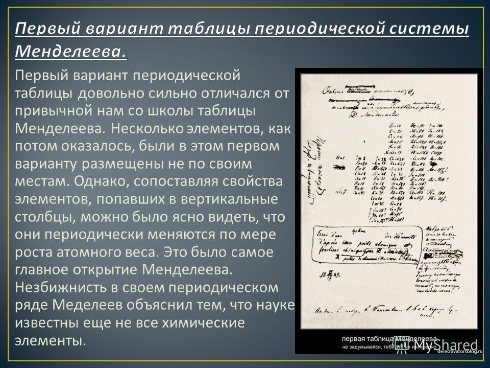Первый вариант периодической таблицы довольно сильно отличался от привычной нам со школы таблицы Менделеева. Несколько элементов, как потом оказалось, были в этом первом варианту размещены не по своим местам. Однако, сопоставляя свойства элементов, п