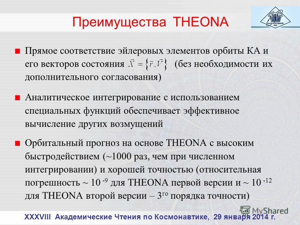 Преимущества THEONA Прямое соответствие эйлеровых элементов орбиты КА и его векторов состояния (без необходимости их дополнительного согласования) Аналитическое интегрирование с использованием специальных функций обеспечивает эффективное вычисление д
