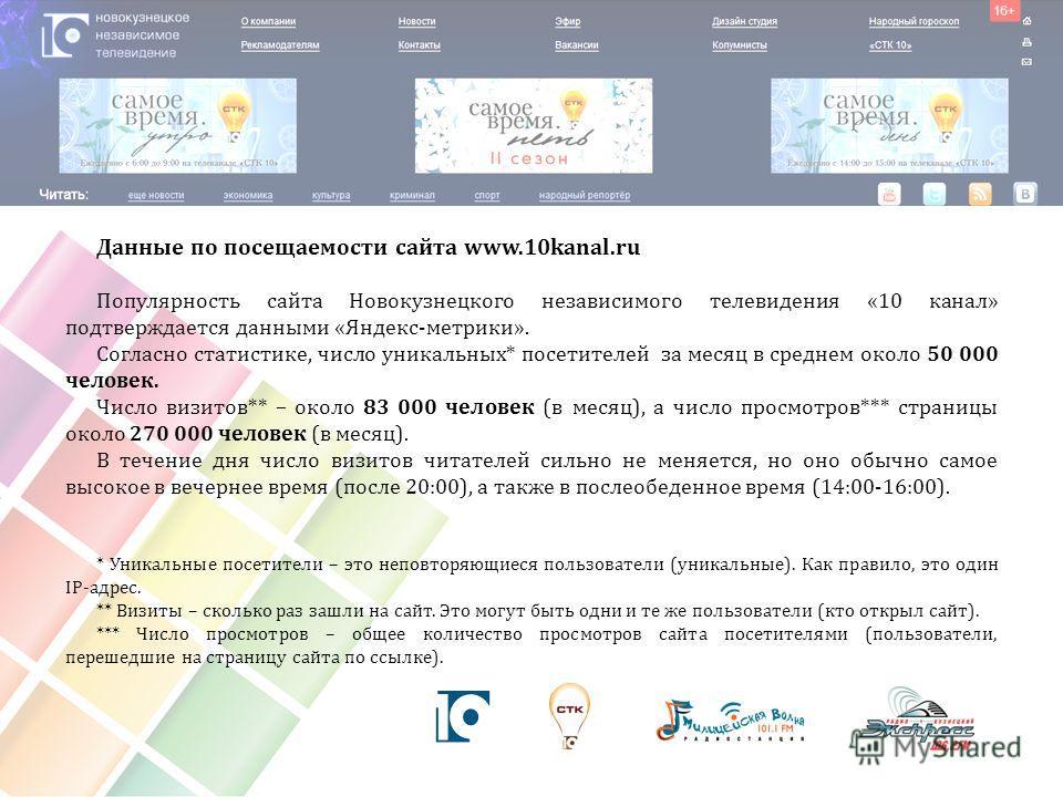 Данные по посещаемости сайта www.10kanal.ru Популярность сайта Новокузнецкого независимого телевидения «10 канал» подтверждается данными «Яндекс-метрики». Согласно статистике, число уникальных* посетителей за месяц в среднем около 50 000 человек. Чис