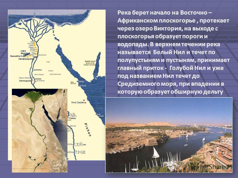 Река берет начало на Восточно – Африканском плоскогорье, протекает через озеро Виктория, на выходе с плоскогорья образует пороги и водопады. В верхнем течении река называется Белый Нил и течет по полупустыням и пустыням, принимает главный приток - Го