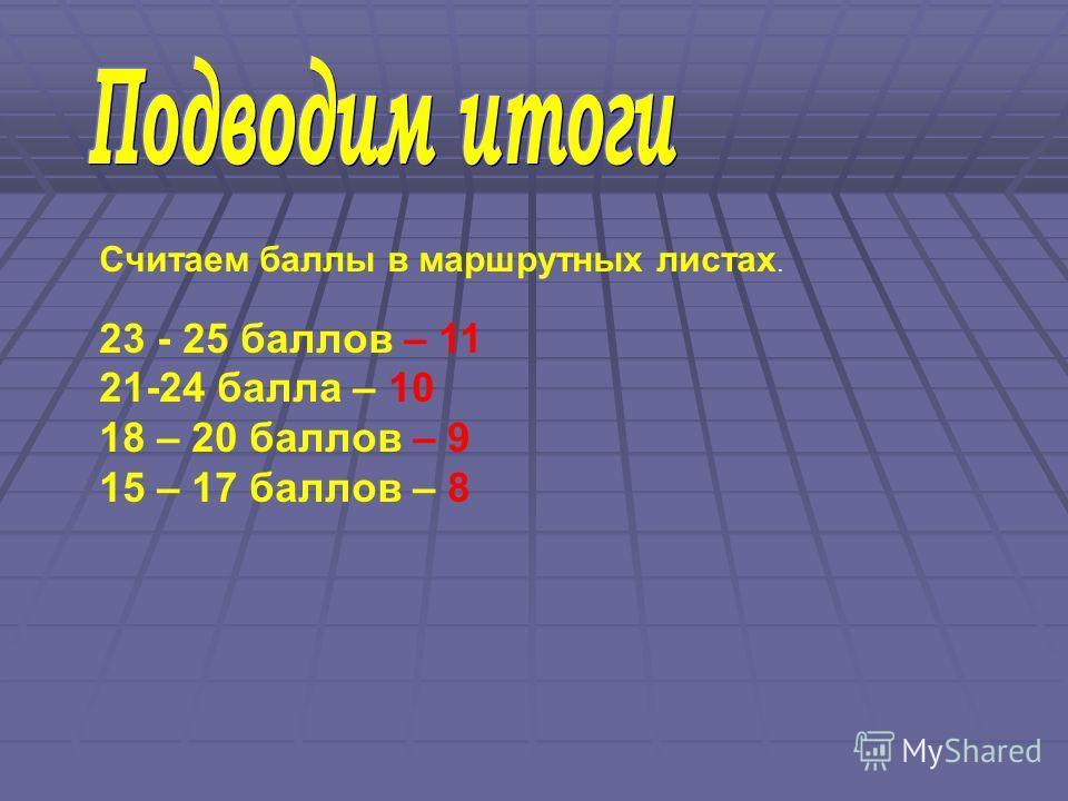 Считаем баллы в маршрутных листах. 23 - 25 баллов – 11 21-24 балла – 10 18 – 20 баллов – 9 15 – 17 баллов – 8