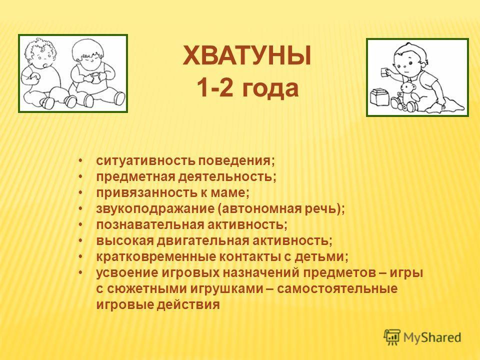 ХВАТУНЫ 1-2 года ситуативность поведения; предметная деятельность; привязанность к маме; звукоподражание (автономная речь); познавательная активность; высокая двигательная активность; кратковременные контакты с детьми; усвоение игровых назначений пре