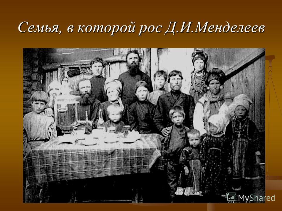 Семья, в которой рос Д.И.Менделеев