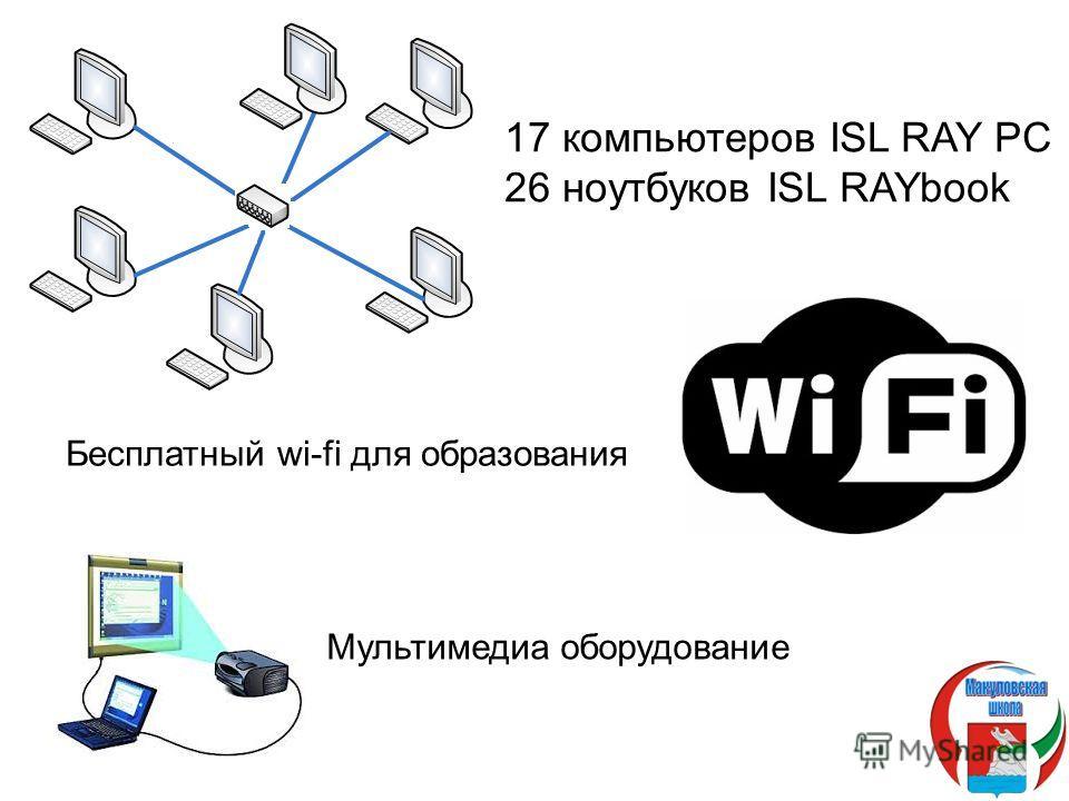 17 компьютеров ISL RAY PC 26 ноутбуков ISL RAYbook Бесплатный wi-fi для образования Мультимедиа оборудование