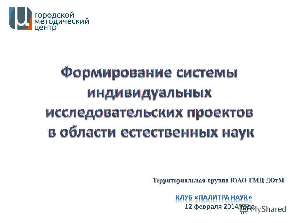 12 февраля 2014 года Территориальная группа ЮАО ГМЦ ДОгМ