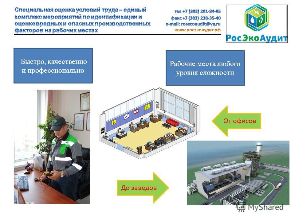 Быстро, качественно и профессионально Рабочие места любого уровня сложности От офисов До заводов