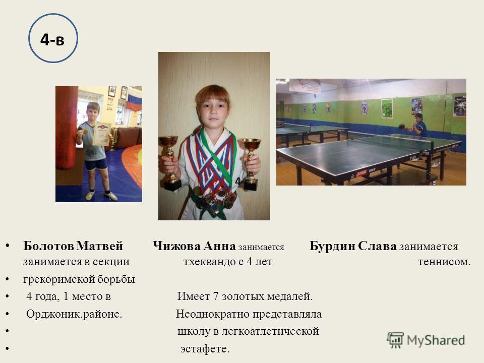 Болотов Матвей Чижова Анна занимается Бурдин Слава занимается занимается в секции тхеквандо с 4 лет теннисом. грекоримской борьбы 4 года, 1 место в Имеет 7 золотых медалей. Орджоник.районе. Неоднократно представляла школу в легкоатлетической эстафете