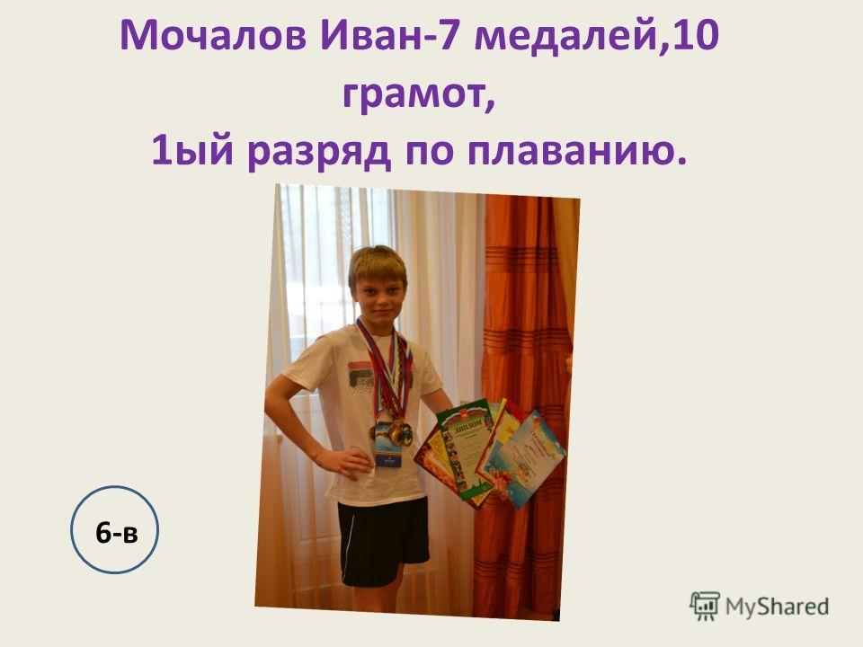 Мочалов Иван-7 медалей,10 грамот, 1ый разряд по плаванию. 6-в