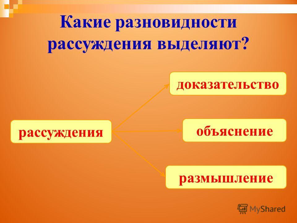 Какие разновидности рассуждения выделяют? рассуждения доказательство размышление объяснение