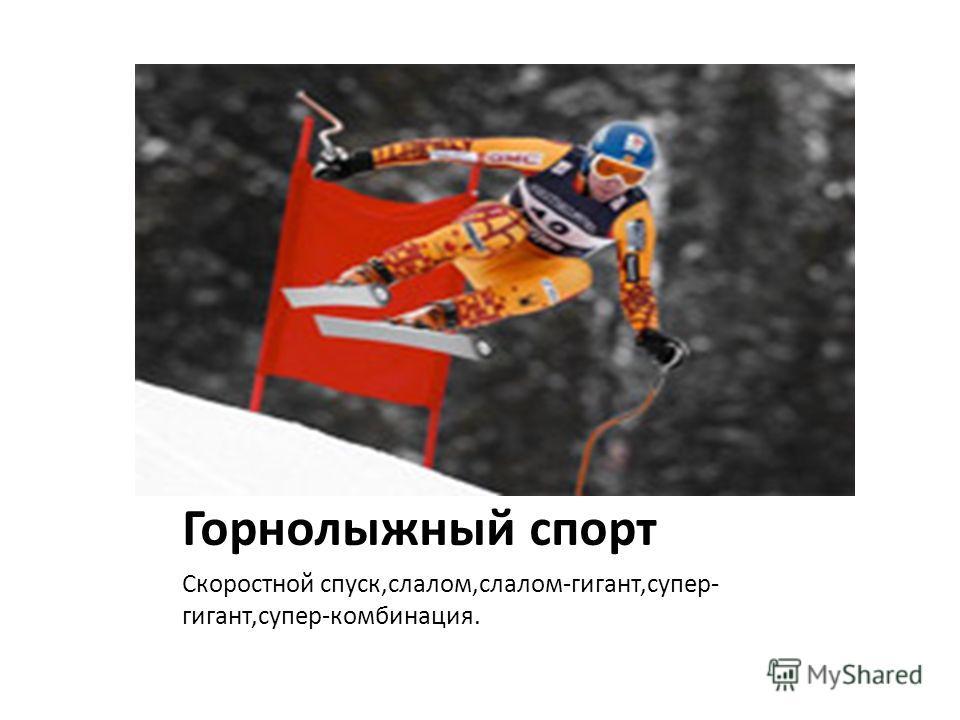 Горнолыжный спорт Скоростной спуск,слалом,слалом-гигант,супер- гигант,супер-комбинация.