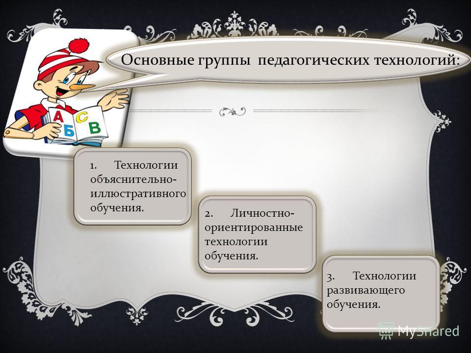 1. Технологии объяснительно - иллюстративного обучения. 2. Личностно - ориентированные технологии обучения. 3. Технологии развивающего обучения. Основные группы педагогических технологий :