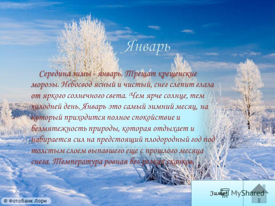 Середина зимы - январь. Трещат крещенские морозы. Небосвод ясный и чистый, снег слепит глаза от яркого солнечного света. Чем ярче солнце, тем холодней день. Январь это самый зимний месяц, на который приходится полное спокойствие и безмятежность приро