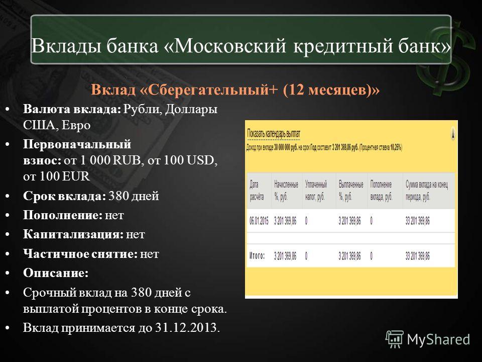Вклады банка «Московский кредитный банк» Вклад «Сберегательный+ (12 месяцев)» Валюта вклада: Рубли, Доллары США, Евро Первоначальный взнос: от 1 000 RUB, от 100 USD, от 100 EUR Срок вклада: 380 дней Пополнение: нет Капитализация: нет Частичное снятие