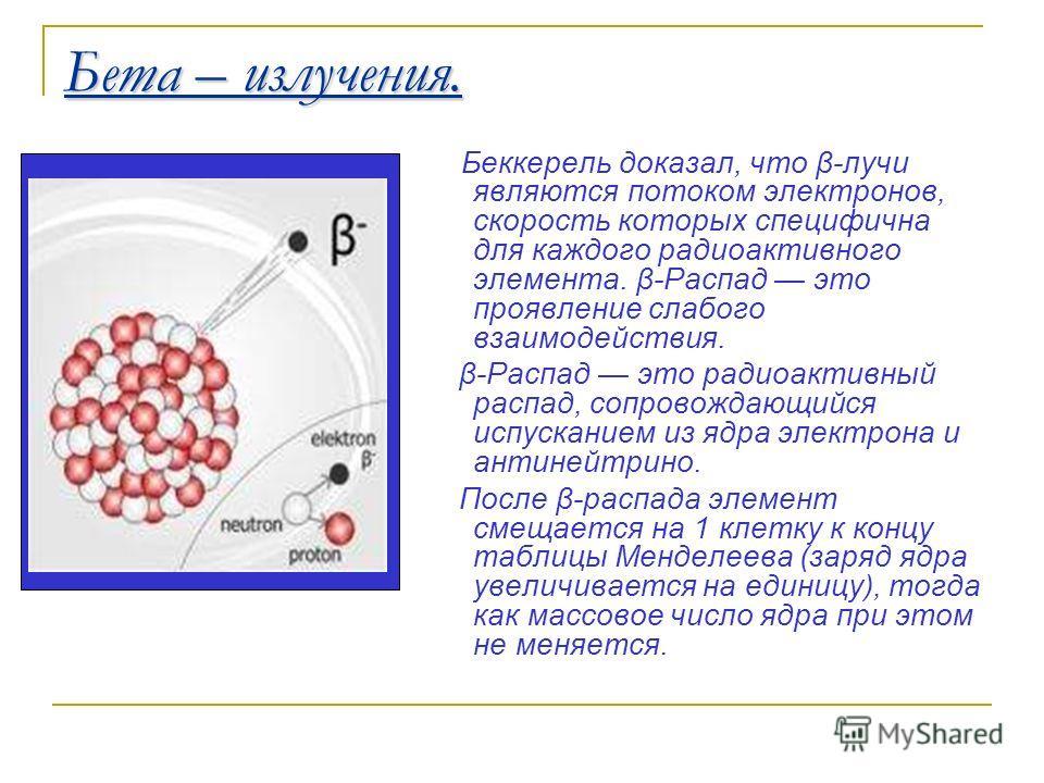 Бета – излучения. Беккерель доказал, что β-лучи являются потоком электронов, скорость которых специфична для каждого радиоактивного элемента. β-Распад это проявление слабого взаимодействия. β-Распад это радиоактивный распад, сопровождающийся испускан