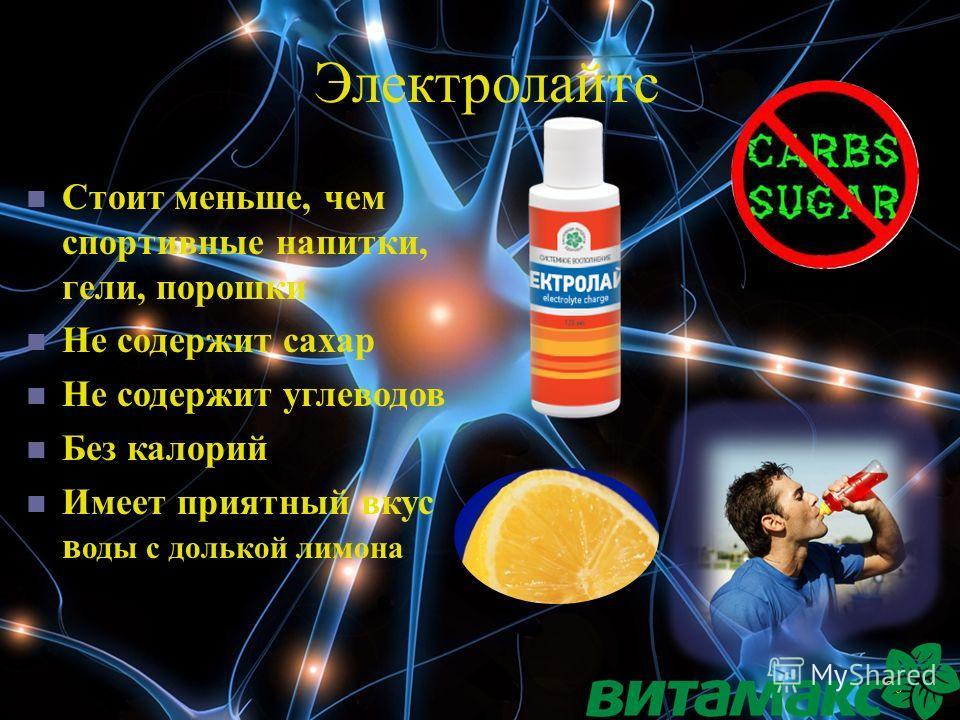20 Электролайтс Стоит меньше, чем спортивные напитки, гели, порошки Не содержит сахар Не содержит углеводов Без калорий Имеет приятный вкус в оды с долькой лимона