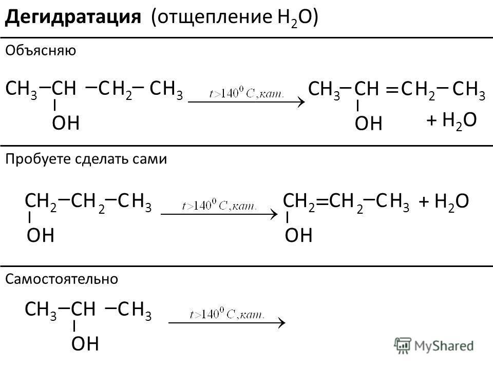 Дегидратация C C O H3H3 HH H H3H32 O H3H3 HH H H3H32 + H2OH2O C C C O H2H2 HH H 3 2 O H2H2 HH H 3 2 + H2OH2O O H3H3 HH H 3 Объясняю Пробуете сделать сами Самостоятельно (отщепление H 2 O)