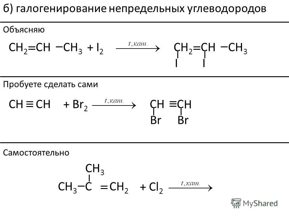 II + I2I2 C C CH2H2 H3H3 H H2H2 H3H3 H б) галогенирование непредельных углеводородов Br + Br 2 C HH H H C C CH 2 H3H3 CH 3 + Cl 2 Объясняю Пробуете сделать сами Самостоятельно