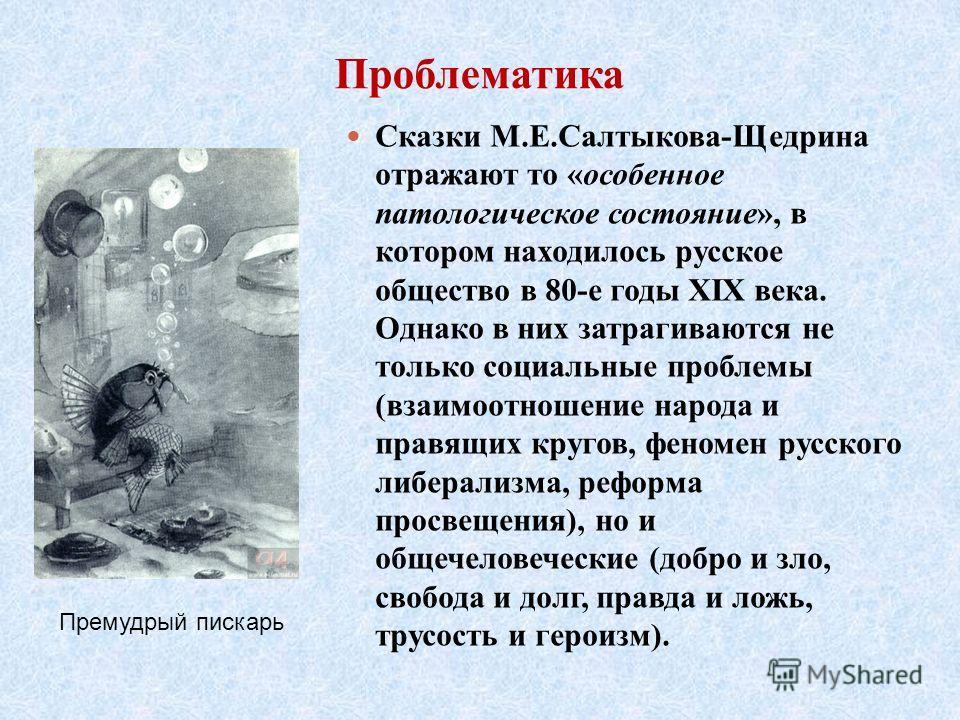 Проблематика Сказки М.Е.Салтыкова-Щедрина отражают то «особенное патологическое состояние», в котором находилось русское общество в 80-е годы XIX века. Однако в них затрагиваются не только социальные проблемы (взаимоотношение народа и правящих кругов