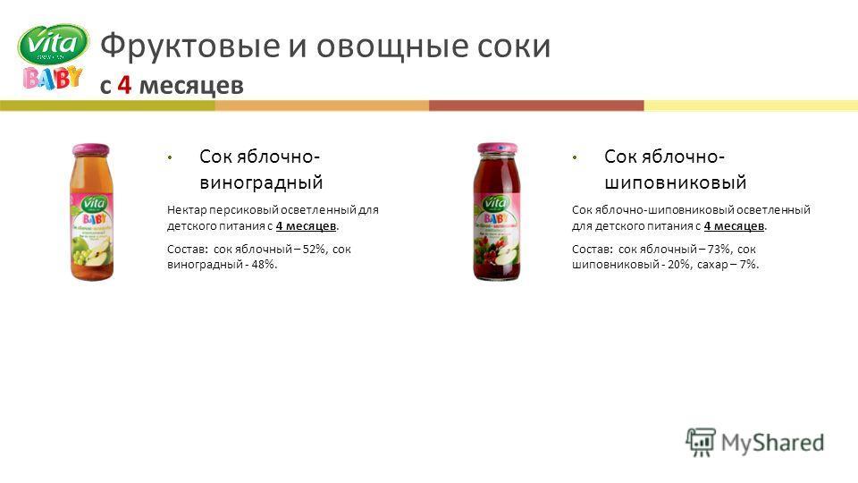 Фруктовые и овощные соки с 4 месяцев Сок яблочно - виноградный Нектар персиковый осветленный для детского питания с 4 месяцев. Состав : сок яблочный – 52%, сок виноградный - 48%. Сок яблочно - шиповниковый Сок яблочно - шиповниковый осветленный для д