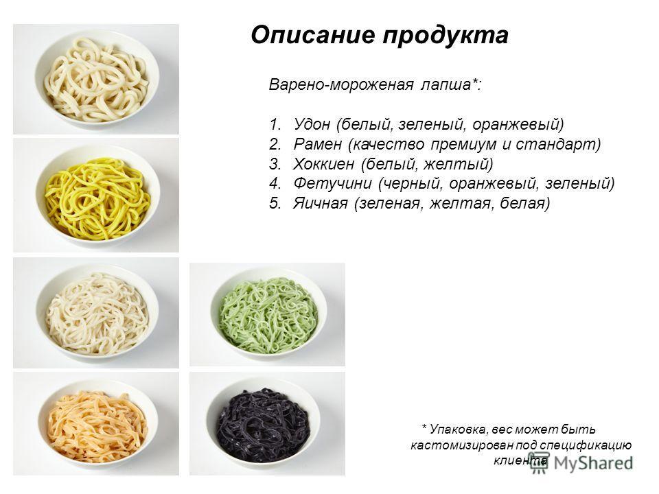 Описание продукта Варено-мороженая лапша*: 1.Удон (белый, зеленый, оранжевый) 2.Рамен (качество премиум и стандарт) 3.Хоккиен (белый, желтый) 4.Фетучини (черный, оранжевый, зеленый) 5.Яичная (зеленая, желтая, белая) * Упаковка, вес может быть кастоми