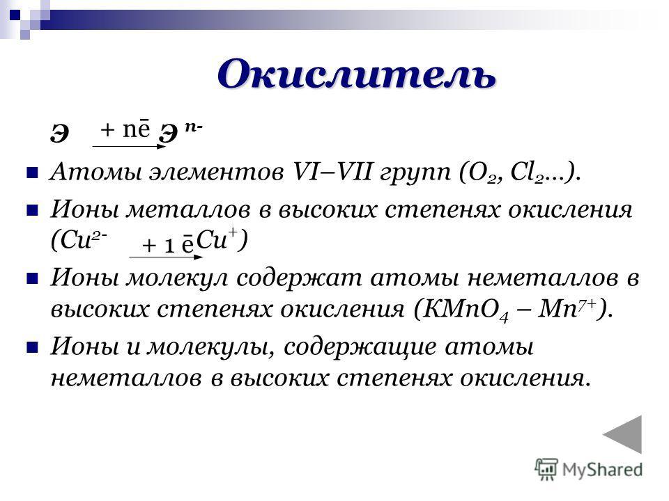 Окислитель ЭЭ n- Атомы элементов VI–VII групп (О 2, Сl 2 …). Ионы металлов в высоких степенях окисления (Cu 2- Cu + ) Ионы молекул содержат атомы неметаллов в высоких степенях окисления (КМnО 4 – Mn 7+ ). Ионы и молекулы, содержащие атомы неметаллов