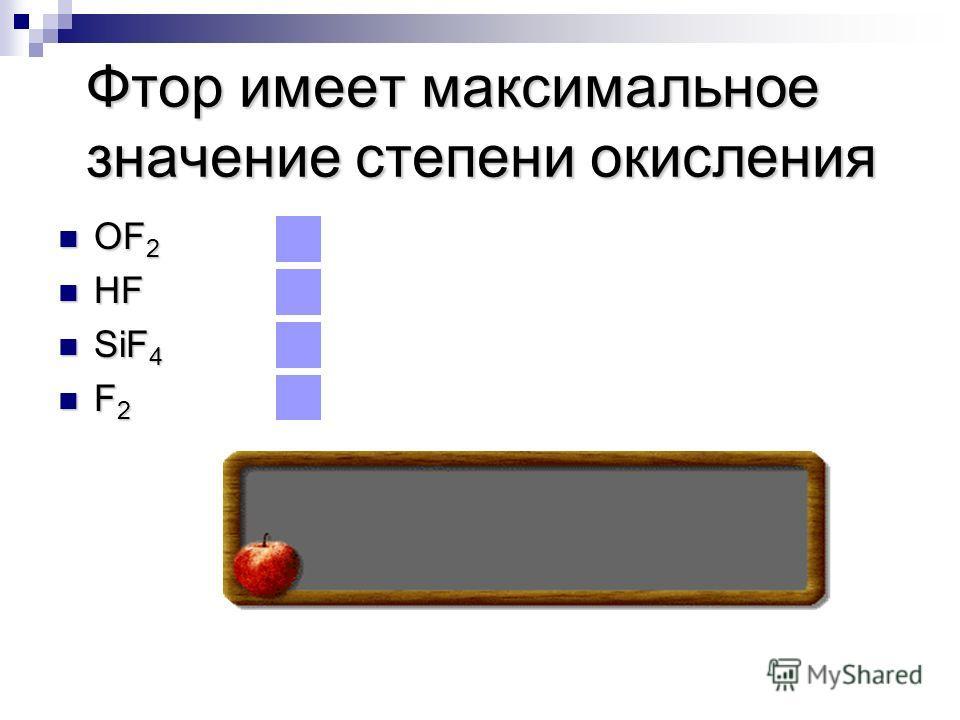 Фтор имеет максимальное значение степени окисления OF 2 OF 2 HF HF SiF 4 SiF 4 F 2 F 2
