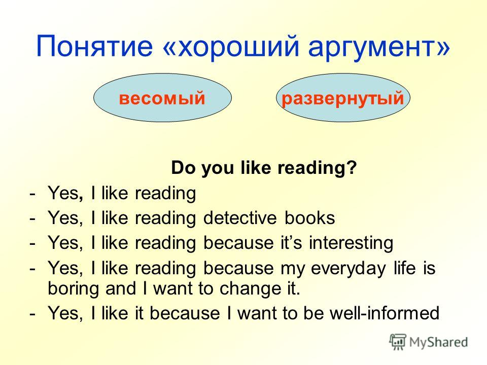 Понятие «хороший аргумент» Do you like reading? -Yes, I like reading -Yes, I like reading detective books -Yes, I like reading because its interesting -Yes, I like reading because my everyday life is boring and I want to change it. -Yes, I like it be