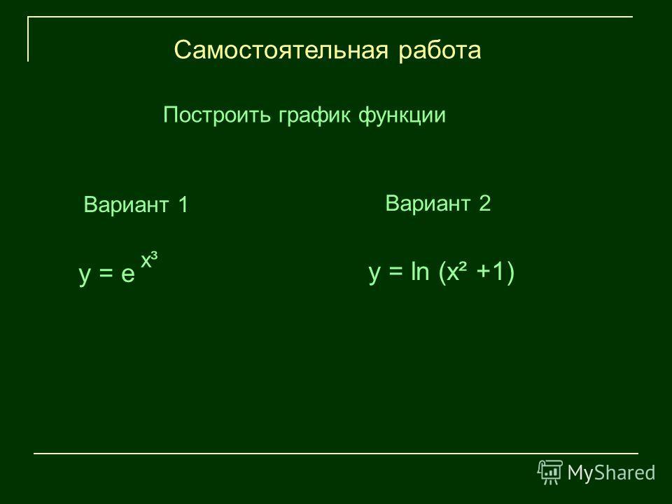 Вариант 1 Самостоятельная работа x³ y = e y = ln (x² +1) Построить график функции Вариант 2