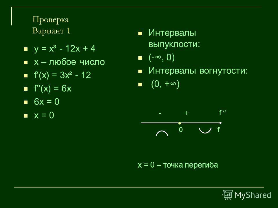 Проверка Вариант 1 у = х³ - 12х + 4 х – любое число f'(х) = 3х² - 12 f''(х) = 6х 6х = 0 х = 0 Интервалы выпуклости: (-, 0) Интервалы вогнутости: (0, +) - + f 0 f х = 0 – точка перегиба